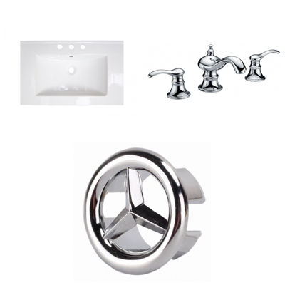 23.75-in. W 3H8-in. Ceramic Top Set In White Color- CUPC Faucet Incl.