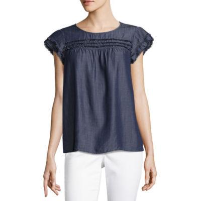 Liz Claiborne Short Sleeve Woven Fringe Blouse