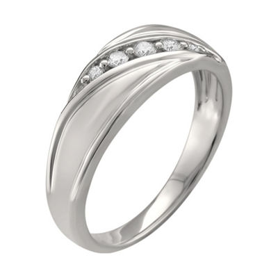 Mens 7.5mm 1/4 CT. T.W. White Diamond 14K White Gold Wedding Band