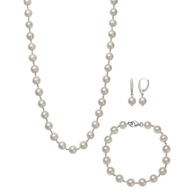 White Cultured Freshwater Pearl Silver Tone Sterling Silver 3-pc. Jewelry Set