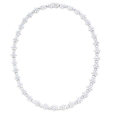 Diamonart Womens 16 1/2 Inch White Cubic Zirconia Sterling Silver Link Necklace
