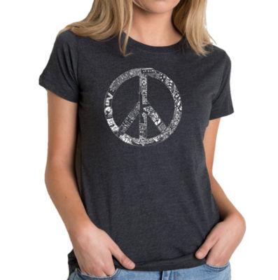 Los Angeles Pop Art Women's Premium Blend Word ArtT-shirt - PEACE; LOVE; & MUSIC