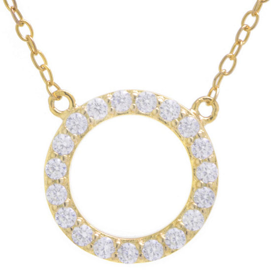 d6da8ceba9f Silver Treasures Womens Clear Cubic Zirconia Sterling Silver Round Pendant  Necklace - JCPenney