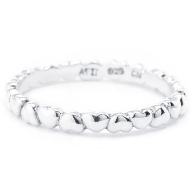 Silver Treasures Sterling Silver Silver Treasures Womens 2.5mm Sterling Silver Heart Band