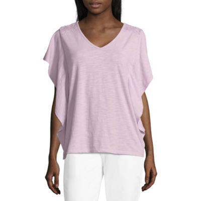 89th & Madison Short Sleeve V Neck T-Shirt-Womens
