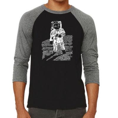 Los Angeles Pop Art Men's Big & Tall Raglan Baseball Word Art T-shirt - ASTRONAUT