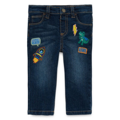 Okie Dokie Dinosaur Patch-Work Denim Pull-On Pant - Baby Boy 3M-24M