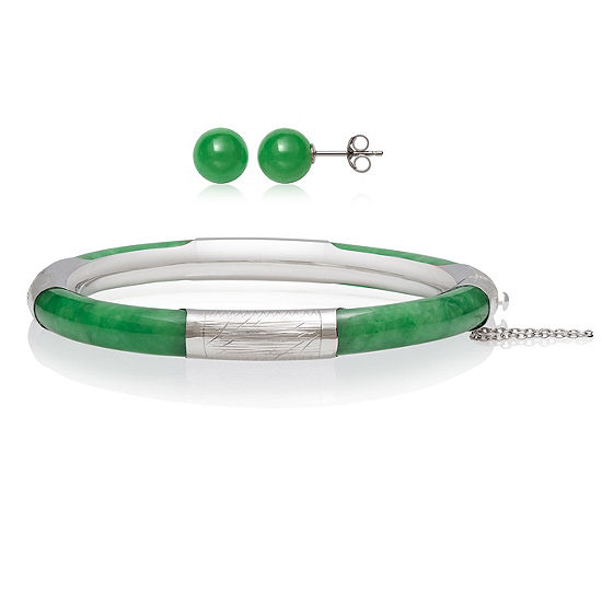 Genuine Green Jade Silver Tone Sterling Silver 2-pc. Jewelry Set