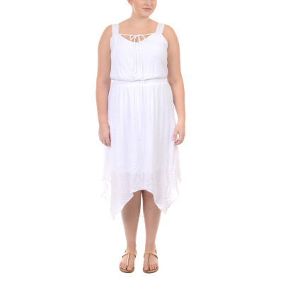 NY Collection High Low Midi Dress with Crochet Straps - Plus