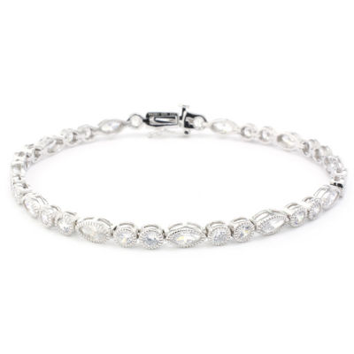 Diamonart White Cubic Zirconia Sterling Silver Flower 7.5 Inch Tennis Bracelet