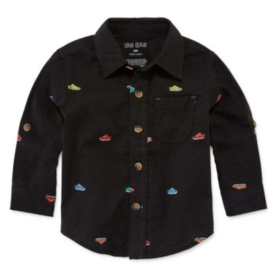 Okie Dokie Long Sleeve Button-Front Shirt - Baby Boy 3M-24M