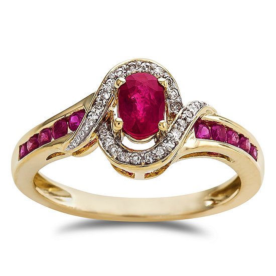 Womens Lead Glass Filled Ruby 10k Gold Cocktail Ring