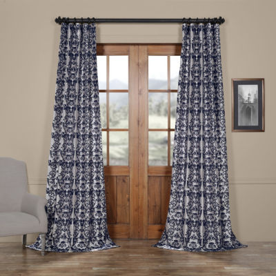 Exclusive Fabrics & Furnishing Firenze Flocked Faux Silk Rod-Pocket Curtain Panel