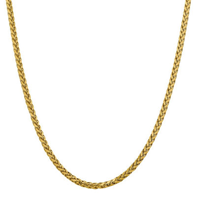 14K Gold 22 Inch Semisolid Wheat Chain Necklace