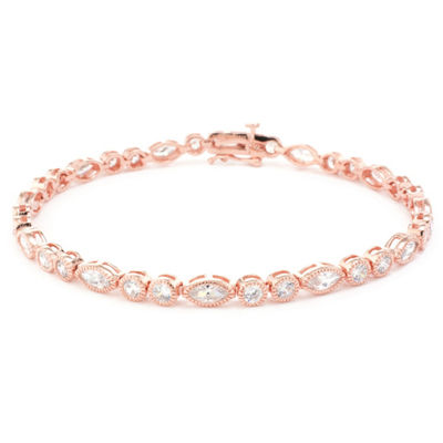Diamonart White Cubic Zirconia 14K Gold Over Silver 14K Rose Gold Over Silver Flower 7.5 Inch Tennis Bracelet