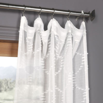 Exclusive Fabrics & Furnishing Marseille Shell Faux Linen Sheer Rod-Pocket Curtain Panel