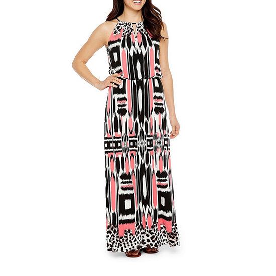 London Times-Petite Sleeveless Geometric Maxi Dress