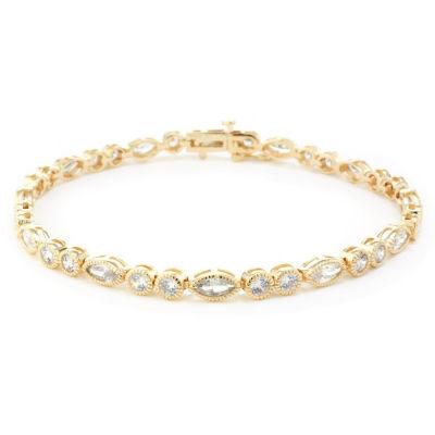 Diamonart White Cubic Zirconia 14K Gold Over Silver 14K Rose Gold Over Silver Flower 7.5 Inch Tennis Bracelet