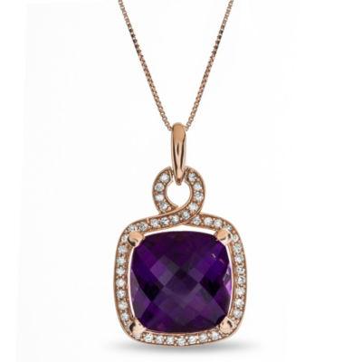 Womens Genuine Purple Amethyst 10K Rose Gold Pendant Necklace