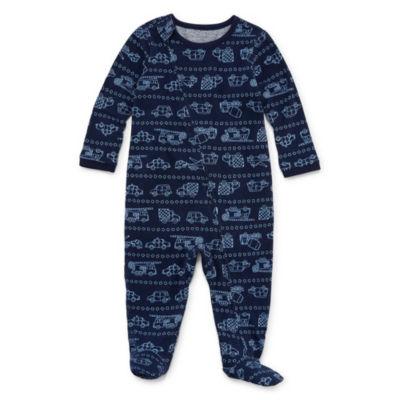 Okie Dokie Cars & Trucks Long Sleeve Full Zip Sleep and Play - Baby Boy NB-9M