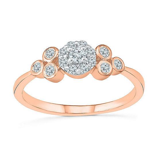 Promise My Love Womens 1/4 CT. T.W. Genuine White Diamond 10K Rose Gold Promise Ring