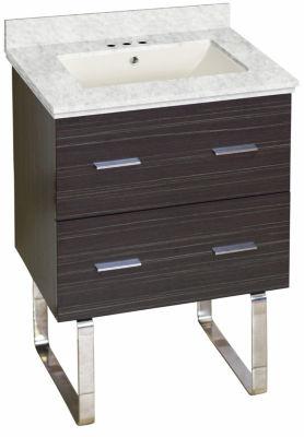 23.75-in. W Floor Mount Dawn Grey Vanity Set For 3H4-in. Drilling Bianca Carara Top Biscuit UM Sink