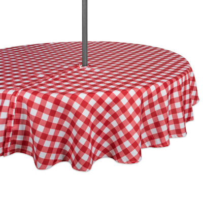 Design Imports Red & White Checkers Outdoor Tablecloth - Round