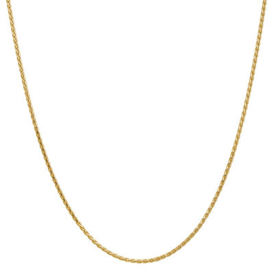 14K Gold 24 Inch Solid Wheat Chain Necklace