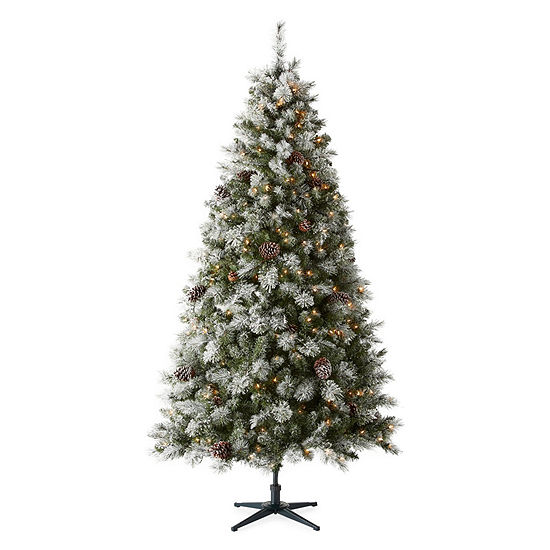 North Pole Trading Co 7 1/2 Foot Geneva Pre Lit Flocked Christmas Tree  JCPenney - North Pole Trading Co 7 1/2 Foot Geneva Pre Lit Flocked Christmas