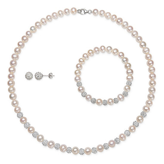 White Cultured Freshwater Pearl Sterling Silver 3-pc. Jewelry Set