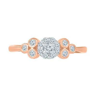 Promise My Love Womens 1/4 CT. T.W. White Diamond 10K Rose Gold Promise Ring