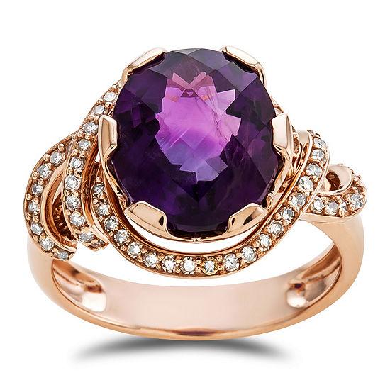 Womens Genuine Purple Amethyst 10K Rose Gold Cocktail Ring