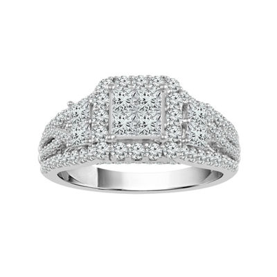 Womens 1 5/8 CT. T.W. White Diamond 14K White Gold Engagement Ring