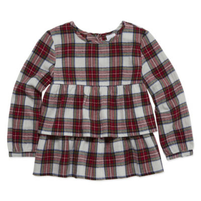 Peyton & Parker Long Sleeve Plaid Tiered Blouse - Toddler Girls