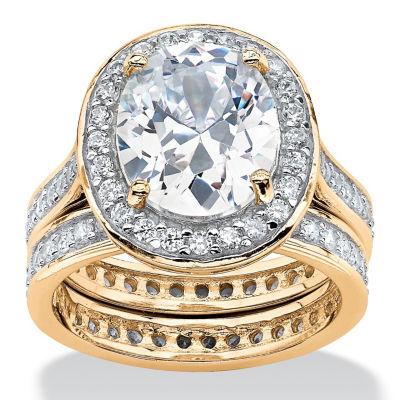 Diamonart Womens 6 Ct.T.W. White Cubic Zirconia Gold Over Silver Bridal Set