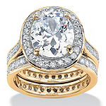 Diamonart Womens 6 CT. T.W. White Cubic Zirconia 18K Gold Over Silver Bridal Set