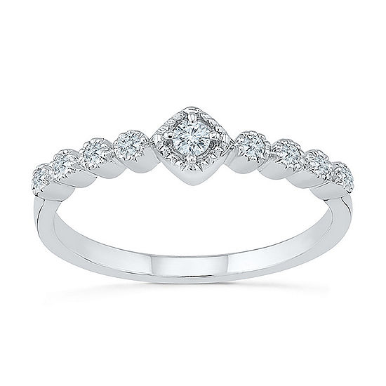 Promise My Love Womens 1/8 CT. T.W. Genuine White Diamond Sterling Silver Promise Ring
