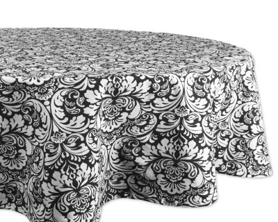 Design Imports Black Damask Tablecloth - Round