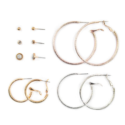 Arizona 6 Pair Clear Earring Sets