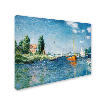Trademark Fine Art Claude Monet Red Boats at Argenteuil Giclee Canvas Art