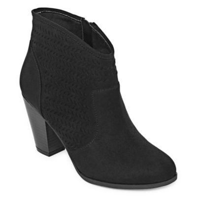 a.n.a Womens Anita Block Heel Booties Zip