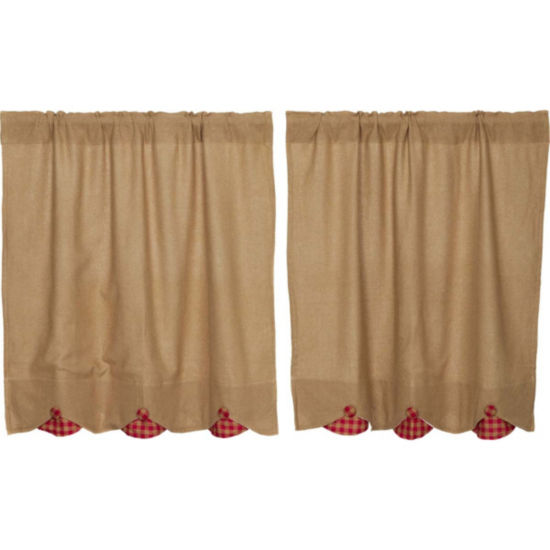Farmhouse Window Burlap w/Red Check Scalloped Tier Pair