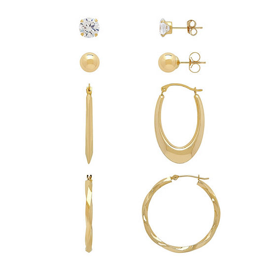 4 Pair White Cubic Zirconia 10K Gold Earring Set