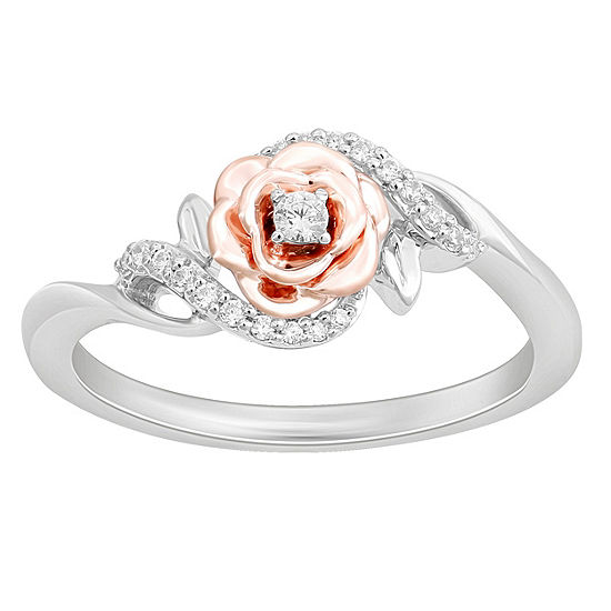 Enchanted Disney Fine Jewelry Womens 1/10 CT. T.W. Genuine White Diamond 14K Rose Gold Over Silver Sterling Silver Flower Beauty and the Beast Cocktail Ring