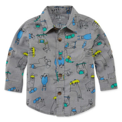 Okie Dokie Long Sleeve Button-Front Shirt Boys