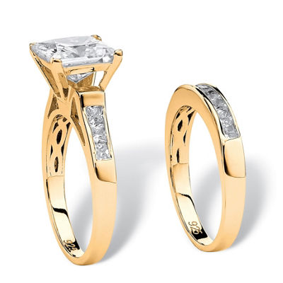Diamonart Womens 2 3/4 CT. T.W. White Cubic Zirconia 14K Gold Over Silver Bridal Set