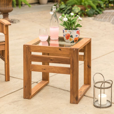 Open Side Wood Patio End Table