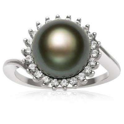 Womens 9.5M Black Cultured Tahitian Pearl Cocktail Ring