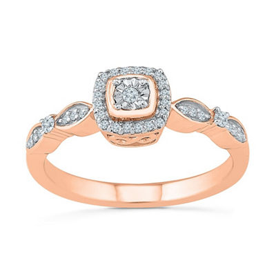 Promise My Love Womens 1/6 CT. T.W. White Diamond 10K Rose Gold Promise Ring