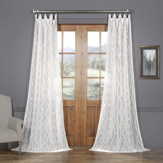 Exclusive Fabrics & Furnishing Limoges Geo Faux Linen Sheer Rod-Pocket Curtain Panel